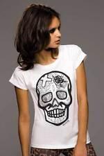 camiseta Calavera con cruz, de mujer rock serie cráneos, algodón orgánica