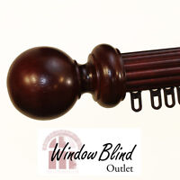 4' Wood Traverse Rod - Mahogany Ball