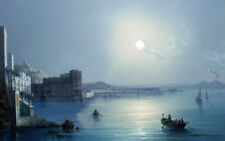 Oil seascape Farmyard scene The Bay of Naples at night with Vesuvius erupting