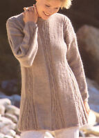 """Ladies Womans Swing Cabled Tunic  Sweater 30"""" - 40"""" DK Knitting Pattern"""