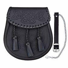 KILT escarcelle CELTIQUE spirale ciselé lacet de cuir noir tissé bord kiltwear