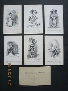 Early sketches by the late Nurse Cavell 1902, set of 6 postcards, Jarrolds