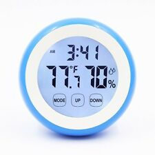Wall Clock Digital Magnet Indoor Thermometer Humidity Monitor Touchscreen LightB