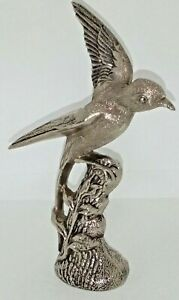 Silver Metal Ornate  Bird On Tree Stump Highly detailed Collectable