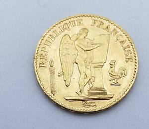 "1878 A French GOLD 20 Francs ""ANGEL"" COIN .1867AGW L9050"