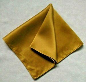 Mens Vintage Hankie Handkerchief Retro Pocket Square Dark Gold Golden
