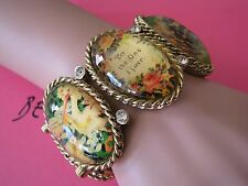 """BETSEY JOHNSON VINTAGE LUCITE CAMEO """"TO THE ONE I LOVE"""" STATEMENT BRACELET~RARE"""