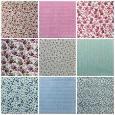 Fat Quarters PolyCotton Fabric Flowers Floral Purple Pink Blue White Green