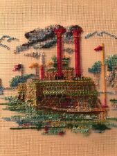 Wood framed Vintage completed steam paddle river boat needlepoint embroidery