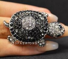 Declaración DE GLAM tortugas marinas con incrustaciones de diamantes de imitación dos tonos Anillo Elástico Negro