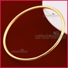 9K PLAIN YELLOW GOLD GF VINTAGE WOMENS ROUND RING BAND GOLF BANGLE BRACELET GIFT