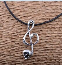 Tibet silver fashion musical note charm pendant necklace hide rope 39x20mm#A6130