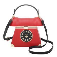 STATEMENT CUTE FAUX LEATHER RETRO 3D TELEPHONE HANDBAG CLASP SHOULDER BAG RED