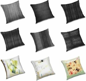Floral & Black Shaped Color Printed Cushion Cover Square Polyester Pillow Case