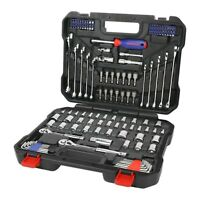 Workpro 145 Pieces Chrome Mechanic's Tool Kit 1/4 in & 3/8 in Drive Sockets Set