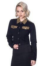 Women's Black Retro Vintage Rock n Roll Leopard Denim Jacket Banned Apparel