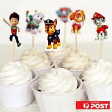 24 Pcs PAW PATROL CUPCAKE CAKE TOPPERS Party Supplies Lolly Loot Bags Decor