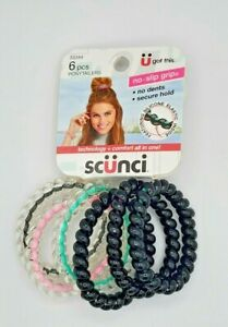 Scunci Hair Spiral Ponytailers with No Slip Inner Core 6 in Black and Clear