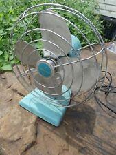 Vintage Electric Fan Eskimo Turquoise Aqua Works!