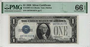 1928 $1 SILVER CERTIFICATE FR.1600 GA BLOCK PMG GEM UNCIRCULATED 66 EPQ (837A)
