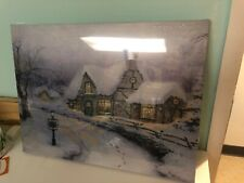 Winter Lighted Canvas Decoration Christmas Tree Wall Art Xmas Home Gift Ornament