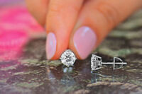 1.50 Ct VVS1/D Solitaire Diamond Earring 14K Solid White Gold Round Cut Studs