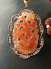 Nut Carved Necklace  Natural Orange Red Jadeite Jade Pendant with  14K Gold