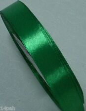 "5 metres x Single Sided Satin Ribbon 15mm or 5/8"" Emerald Green 19 NEW"