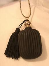Handsome Large Black Finished Vial Perfume Cremains It Opens! Goldtone Necklace