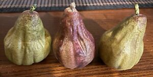 Artificial Decorative Faux Pears Realistic Looking Set Of 3