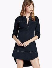 NWT Lucky Brand Black Studded Denim Dress High-Low Hem Long Sleeve Cotton S $119