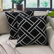 2PCS Black Cushion Cover Thick Textured Diamond Throw Pillow Case 45x45cm