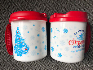 Seaworld Christmas Holiday Plastic Insulated Mugs Set Of 2 MAKE AN OFFER MUST GO