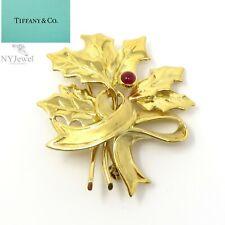 NYJEWEL Tiffany & Co. 18k Yellow Gold Ruby Floral Pin Brooch