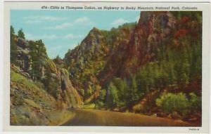 Rocky Mountain National Park Postcard Cliffs Thompson Canon Colorado CO Unused