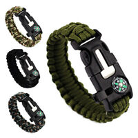 Practical Survival Bracelets Knife Whistle Magnesium Fire Starter Compass Kits