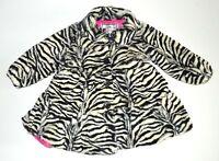 NWT American Widgeon Girls Faux Fur Button Jacket - Zebra - 3T