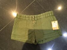 NWT Genuine Juicy Couture Ladies New Small UK Size 8 U.S. 4 Green Cotton Shorts