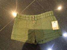 Nuevo con etiquetas auténtico Juicy Couture Damas Nuevo pequeño tamaño de Reino Unido 8 EE. UU. 4 Verde De Algodón Pantalones Cortos