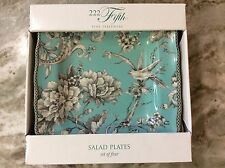 222 Fifth Adelaide Turquoise Square Salad Plates. Set Of 4. Porcelain. New.