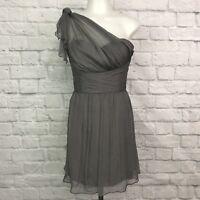 AMSALE Women's Size 6 Dress One Shoulder Gray Mini Silk