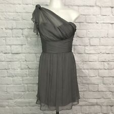 AMSALE Women's Size 6 Dress One Shoulder Gray Mini Silk