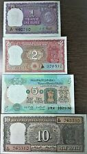 Republic Indian Old Rupee Notes. 1,2,5,10 Rupees.4 UNC Notes.Signed By I.G.Patel