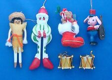 lot of 6 vintage Christmas ornaments clown clothespin gaucho stocking drum