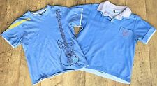 Set 2 Boys Duffer of Saint George Polo T Shirt Top 9-10y Tee Blue Guitar Layered