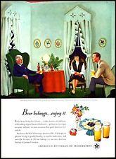 1947 Beer U.S. Brewers Association Home Life in America Art Print Ad  (ADL3)
