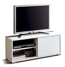 Mueble de TV modulo bajo blanco brillo de salon comedor con puerta corredera