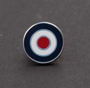 RAF ROUNDEL MOD TARGET SCOOTER BOY LAPEL  MEMORABILIA PIN BADGE - SILVER (M33B)