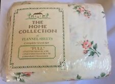 The Home Collection  4 Piece Flannel Bed Full Sheet Set Rose Pattern