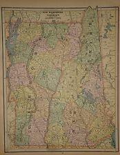 VINTAGE 1890 NEW HAMPSHIRE  VERMONT MAP OLD ANTIQUE ORIGINAL  MAP 90/042117